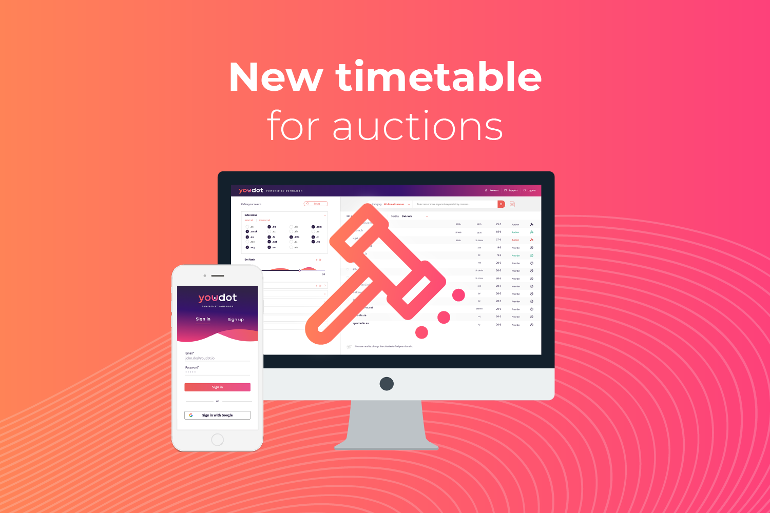 New timetable for auctions on the platform