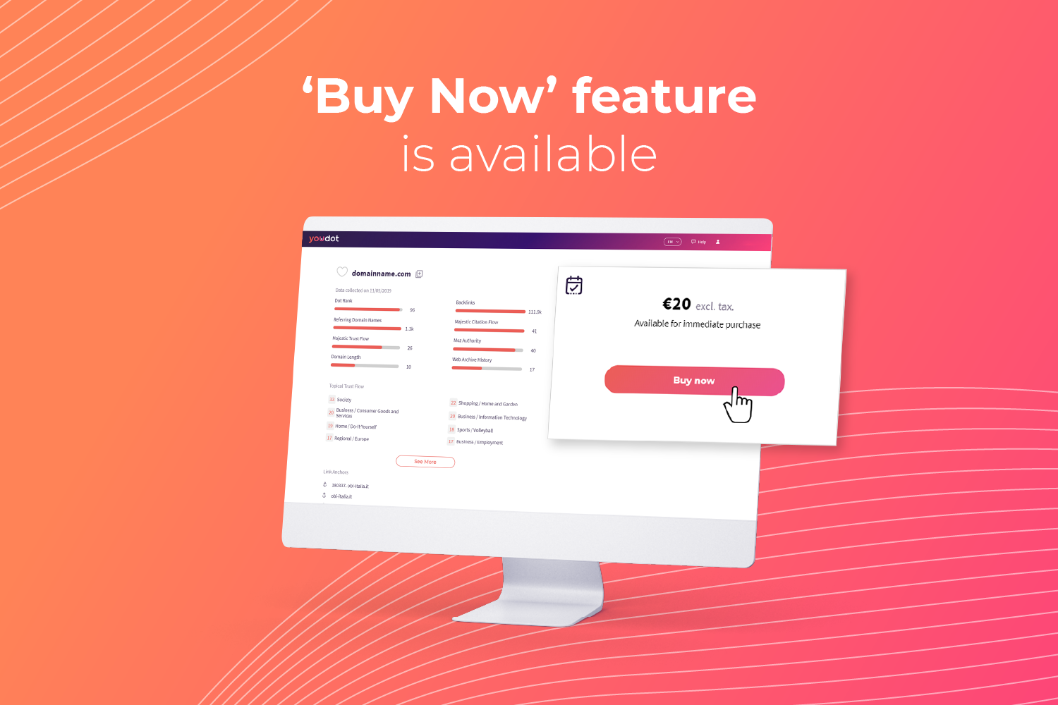 The 'Buy Now' feature is available on Youdot!